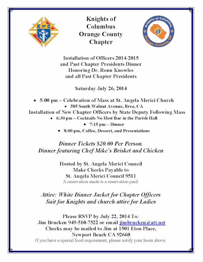 Officers Installation July 26 – Knights of Columbus Orange Co. CA