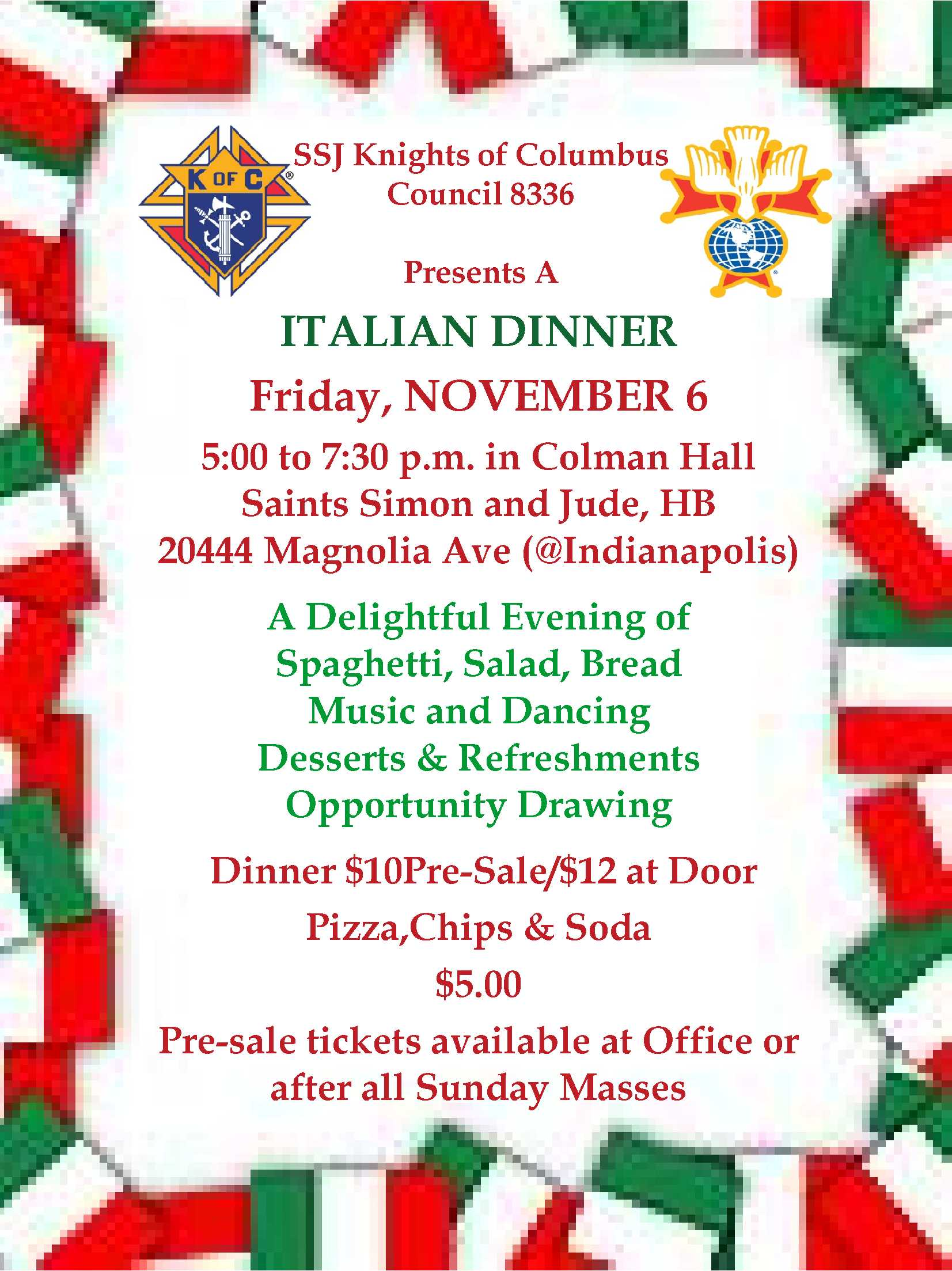 Italian Dinner November 6th – Knights of Columbus Orange Co. CA